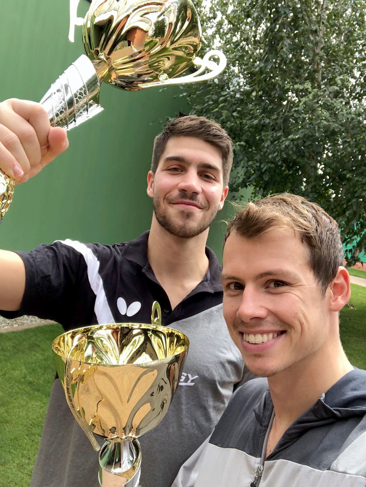 Freude nach Gewinn Goldmedaille Doppel Czech Open 2018